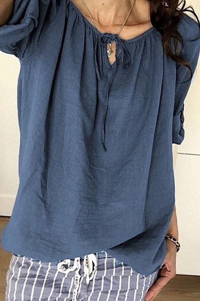 Round Neck Lace Up Plain Casual Blouses