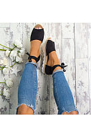 Bow Criss Cross Peep Toe Flats