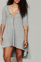 Round Neck  Asymmetric Hem  Plain  Long Sleeve Casual Dresses