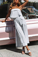 Strapless Striped Print Jumpsuit