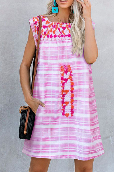 Embroidered Sleeveless Printed Casual Everyday Dress