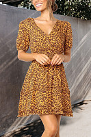 V Neck  Leopard Printed  Short Sleeve Skater Dresses