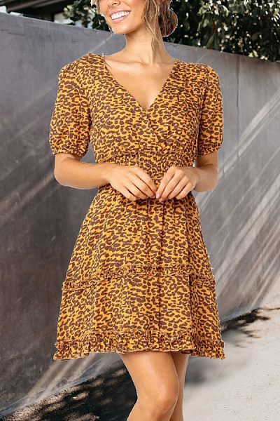 V Neck  Leopard Printed  Short Sleeve Skater Dresses