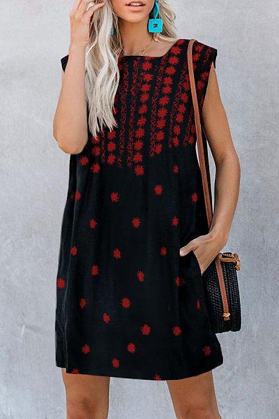 Sleeveless Printed Casual Dress