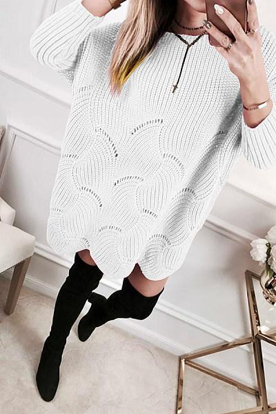 Casual  Jacquard Long Sleeve Sweaters