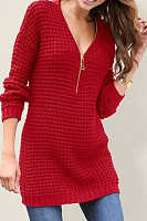 V Neck  Zipper  Plain Sweaters