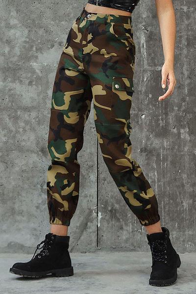 Fashion Camouflage Pattern Pockets Button Pants