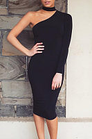 Bodycon One Shoulder Midi Dress
