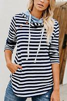 Hooded  Drawstring  Striped  Basic  Hoodies