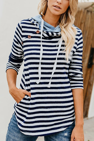 Hooded  Drawstring  Striped  Basic  Hoodies