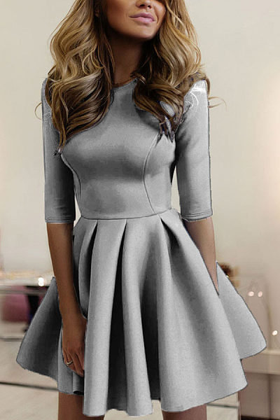 Round Neck  Plain Skater Dresses