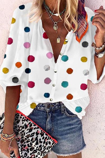 Casual Polka Dot Print Round Neck Blouses