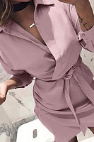 Button Down Collar  Plain  Long Sleeve Bodycon Dresses