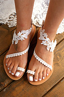 Lace Plain  Flat  Peep Toe  Date Travel Flat Sandals