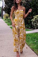 Spaghetti Strap  Backless  Print  Sleeveless Jumpsuits