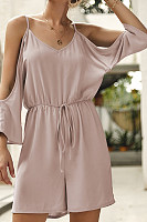 Spaghetti Strap  Plain  Short Sleeve  Playsuits