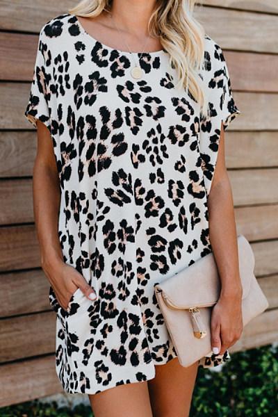 Round Neck Ruffle Mini Dress