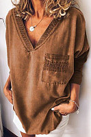 Casual Cotton And Linen V-Neck Patch Pocket Long-Sleeved T-Shirt