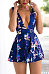 Deep V Neck  Backless  Floral Printed  Sleeveless  Playsuits