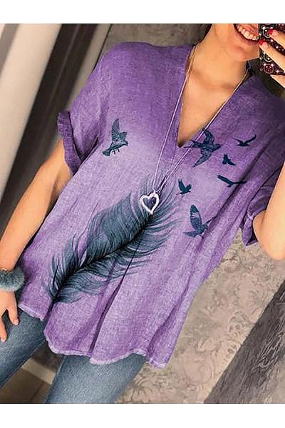 Casual Printed Colour V Neck Short Sleeve Cotton Linen Top