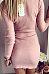 V Neck  Zipper  Long Sleeve Bodycon Dresses