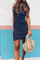 Crew Neck  Plain  Sleeveless Bodycon Dresses
