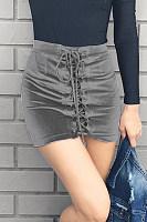 Velvet Cross Straps Mid Rise Waist A Line Skirt