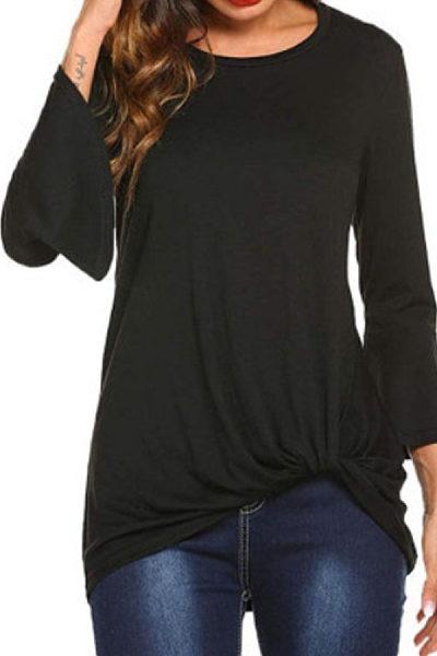 Round Neck  Asymmetric Hem  Plain  Bell Sleeve T-Shirts