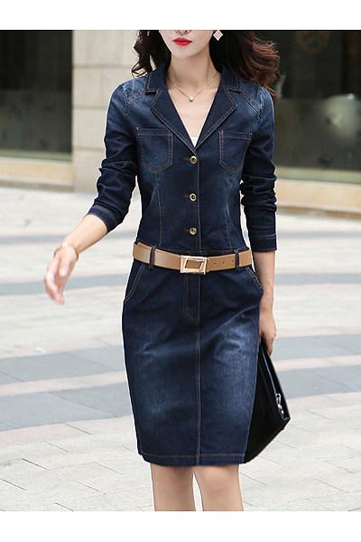 Lapel Denim Light Wash Pocket Belt Bodycon Dress
