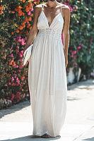 Spaghetti Strap  Backless  Plain  Sleeveless Maxi Dresses