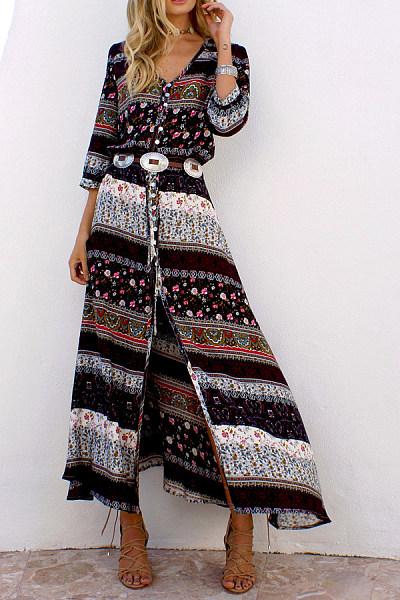 Simia Printed Low-Cut Strap   Dress