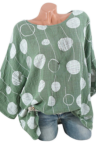 Casual Round Neck Bat Sleeve Dot Print Multicolor Loose Shirt