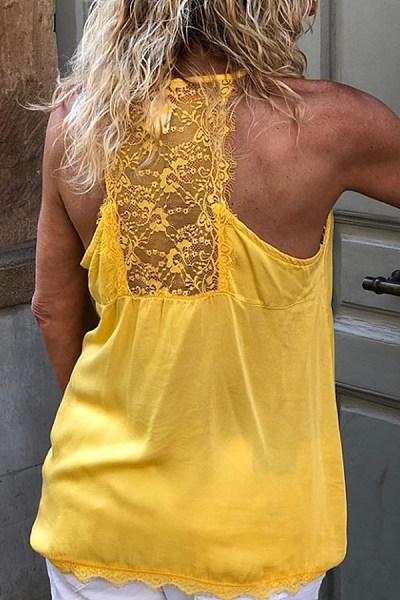 Casual Solid Color Lace Decorative Loose Vest
