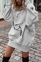 Hooded  Drawstring  Animal Prints Hoodies