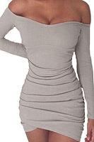 Off Shoulder  Asymmetric Hem  Plain  Long Sleeve Bodycon Dresses