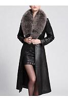 Faux Fur Collar Belt Longline PU Leather Coat