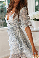 Sexy V-Neck Print Pleated Dress