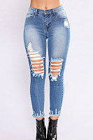 Broken Holes  Plain  Basic Jeans