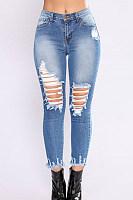 Broken Holes  Plain  Basic Jeans