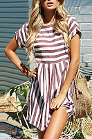 Round Neck Striped Skater Dresses