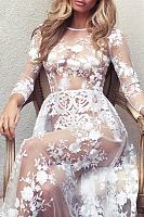 Sexy See Through Embroidery Long Sleeve Party Dresses