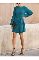 Fashion Round Neck Belted Pure Colour Casual Dresses