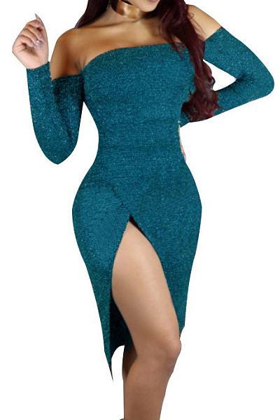 Off Shoulder High Slit Bodycon Dress