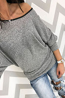 One Shoulder  Patchwork  Batwing Sleeve T-Shirts