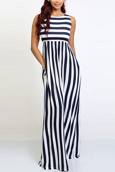 Stripe Sleeveless Wide Leg Jumpsuit