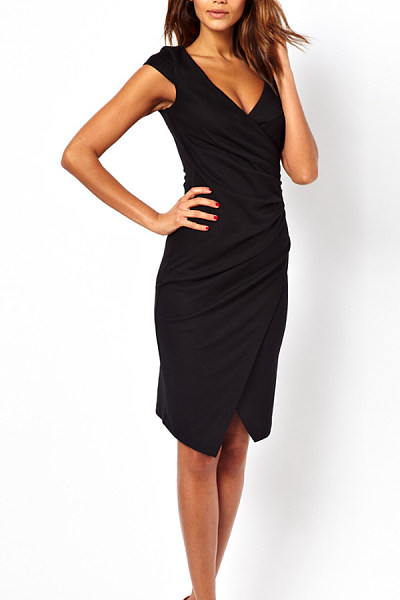 Deep V Neck  Asymmetric Hem  Plain  Sleeveless Bodycon Dresses