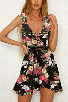 Deep V Neck  Asymmetric Hem  Belt  Floral Printed  Sleeveless Casual Dresses