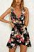 Deep V Neck  Asymmetric Hem  Belt  Floral Printed  Sleeveless Casual Dresses