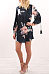 Round Neck  Floral Printed  Lantern Sleeve  Long Sleeve Casual Dresses