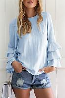 Round Neck Cascading Ruffles Plain Shirt